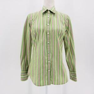 J. Crew slim fit green & pink button down shirt S
